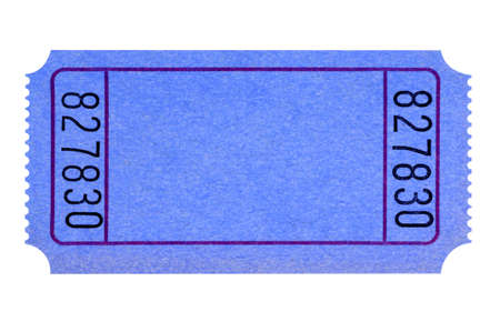 cinema ticket: Blank blue ticket isolated on white background.