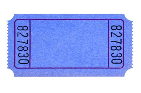 raffle ticket: Blank blue ticket isolated on white background.