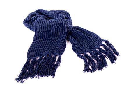 winter fashion: Blue winter scarf with tassels or fringe isolated against a white background