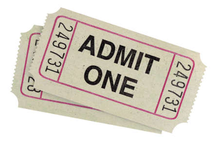admit: Pair of admit one tickets isolated on white background.