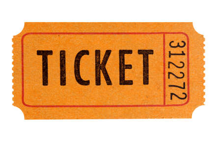 raffle ticket: Orange admission ticket isolated on white background.