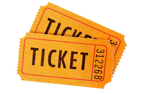 cinema ticket: Pair of orange tickets isolated on a white background. Stock Photo