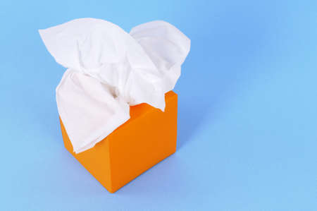 Tissues: Paper tissues in blank orange box on a blue background.