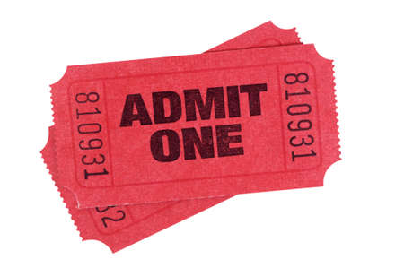 cinema ticket: Red admit one tickets isolated on a white background.