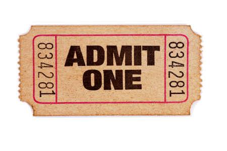 오래 된 흰색 배경에 하나의 티켓을 인정한다.