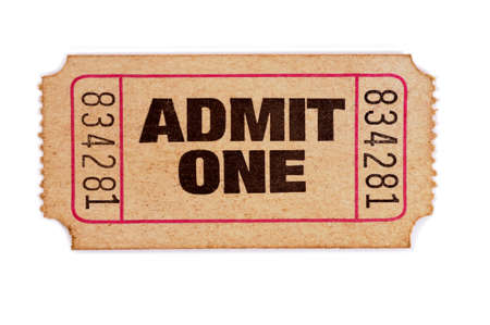 Old admit one ticket on a white background.