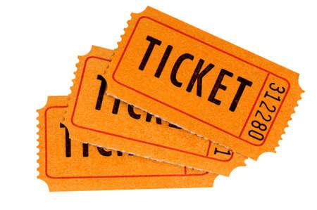 raffle ticket: Three orange raffle tickets isolated on a white background.