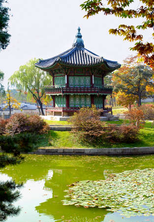 pavillion: Famous pagoda and lake in the gardens of Gyeongbok Palace in Seoul, South Korea