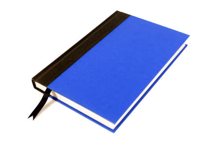 hardback: Blue and black hardback book with ribbon bookmark isolated on a white background.  Space for copy. Stock Photo