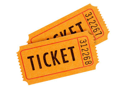 movie ticket: Orange admission tickets isolated on a white background.