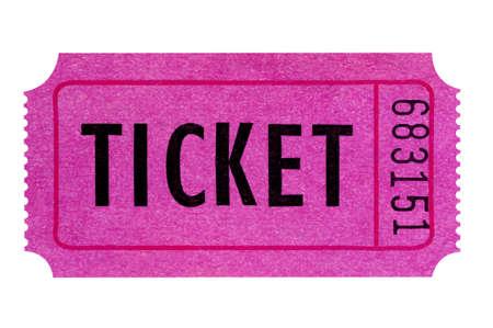 흰 배경에 고립 된 보라색 또는 분홍색 티켓.