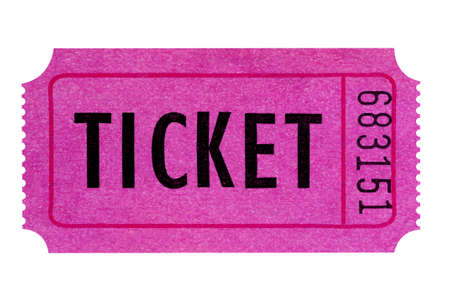 Purple or pink ticket isolated on a white background.