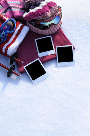 bobble: Winter skiing background with blank photo prints . Stock Photo
