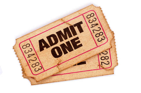 admit one: Old admit one tickets on a white background.