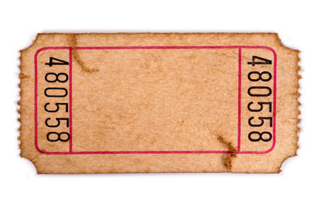 Old torn blank movie or raffle ticket isolated on a white background.