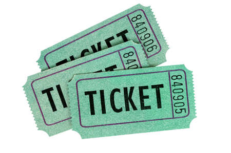 raffle ticket: Three green raffle tickets isolated on a white background.