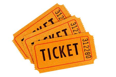 raffle ticket: Three orange movie tickets isolated on a white background.