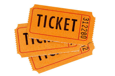 cinema ticket: Three orange movie tickets isolated on a white background.