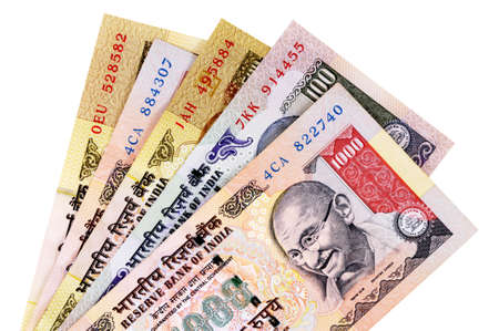 five rupee: Set of Indian Rupee currency bills isolated on a white background.