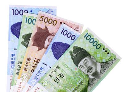 흰색 배경에 고립 된 한국 원화 통화 지폐의 선택. 스톡 콘텐츠