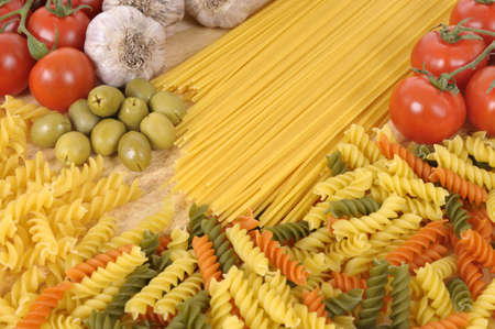 rotini: Selection of Italian spaghetti and pasta with garlic and olives.