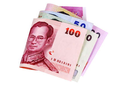 baht: Set of Thai Baht currency bills isolated on a white background. Stock Photo