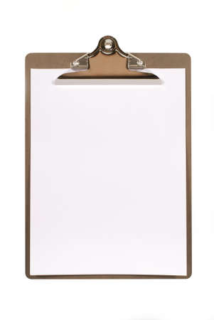 CLIP BOARD: Ordinary clipboard with plain paper isolated on a white background.  Space for copy.