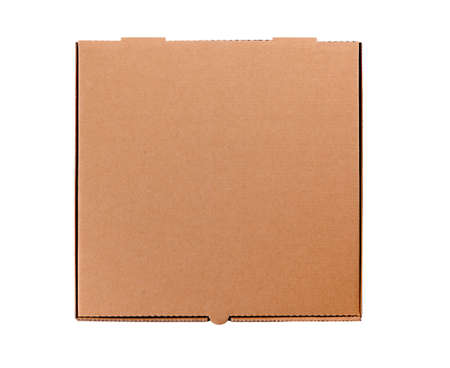 plain brown cardboard pizza box isolated against a white background.  Space for copy.