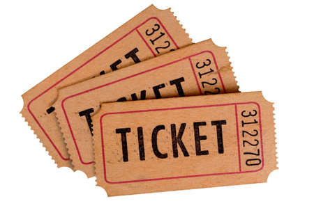 cinema ticket: Old tickets isolated on a white background. Stock Photo