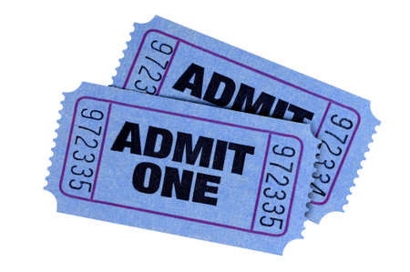 admit: Two blue admit one tickets isolated on a white background. Stock Photo