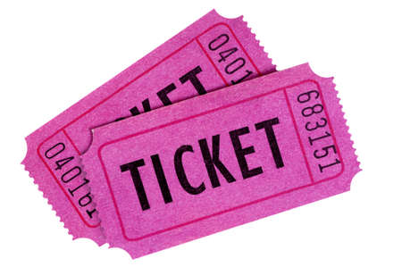 Two purple or pink raffle or movie tickets isolated on a white background.