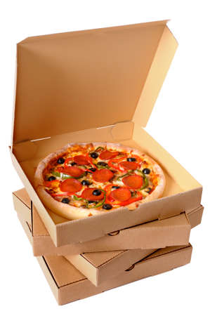 Freshly baked Italian pepperoni Pizza with a stack of delivery boxes isolated on a white background. photo