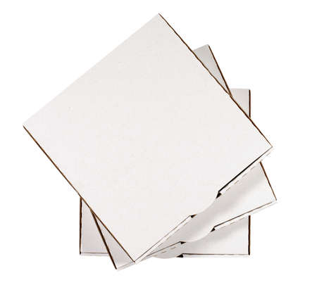 Small stack of blank pizza boxes isolated on a white background. photo