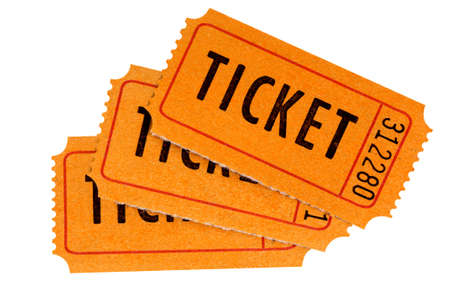 cinema ticket: Three orange raffle tickets isolated on a white background.