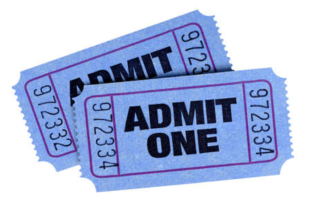 admit one: Two blue admit one tickets isolated on a white background. Stock Photo