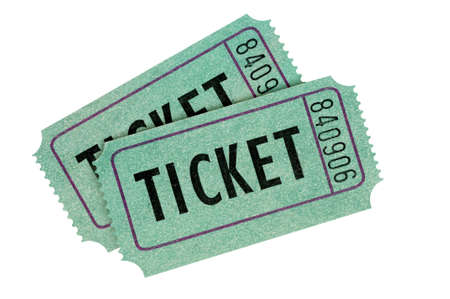 raffle ticket: Two green tickets isolated on a white background.