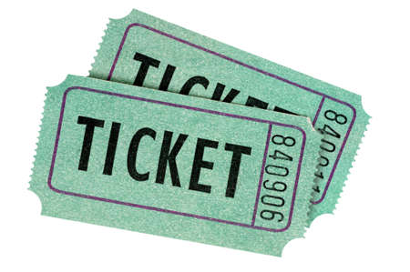 ticket: Two green entrance tickets isolated on a white background.