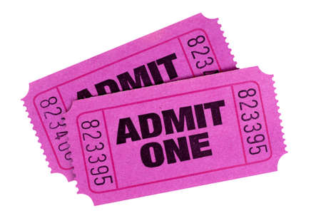 admit one: Two purple or pink admit one tickets isolated on a white background.