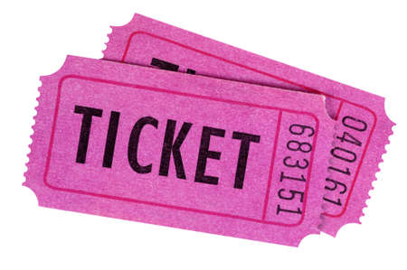 Two purple or pink movie or raffle tickets isolated on a white background.
