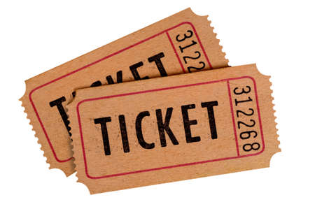 movies: Two old movie tickets isolated on a white background.