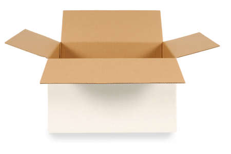 Open plain white cardboard box with brown inside isolated on a white background.  Space for copy.