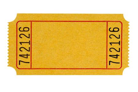 空白黄色劇場のチケットは、白い背景で隔離。 写真素材