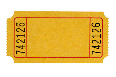 Blank yellow theater ticket isolated on a white background.