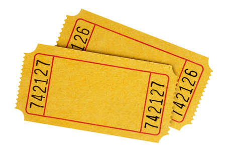 raffle: Two blank yellow movie tickets isolated on a white background. Stock Photo