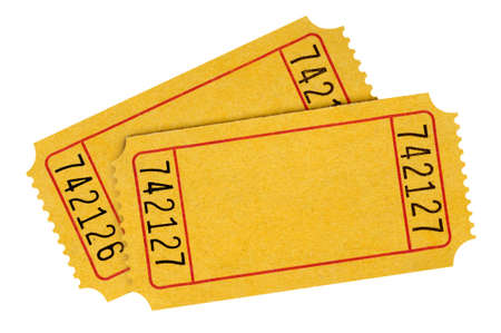 raffle: Two blank yellow raffle tickets isolated on a white background.