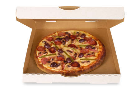 Freshly baked Italian pepperoni Pizza in an open delivery box isolated on a white background.