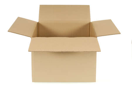 Front view of an open plain brown blank cardboard box isolated on a white background.  Space for copy. photo
