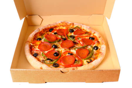 pizza box: Freshly baked Italian pepperoni Pizza in a delivery box isolated on a white background.