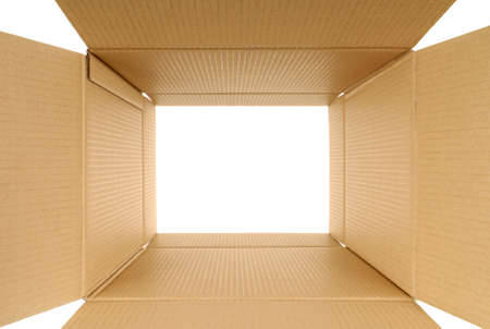looking through frame: Looking through a plain brown cardboard box which is open at both ends.  Space for copy. Stock Photo