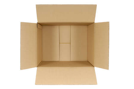 boxed: Top view of an open plain brown blank cardboard box isolated on a white background.  Space for copy.
